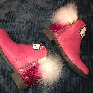 Girls hello kitty maribou fur pink boots